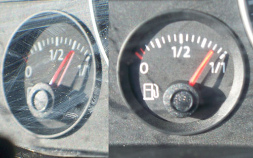 Description: Illustration of parallax using a car's gas gauge.